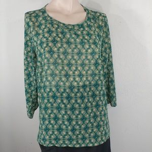 Cabi 3069 green floral blouse size small